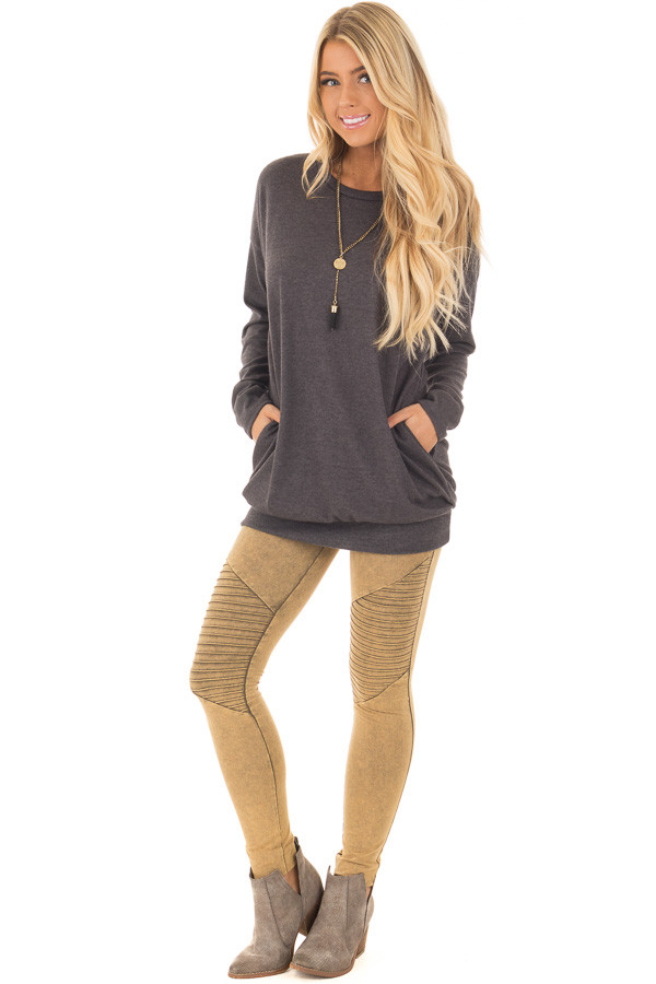 Charcoal Long Sleeve Knit Tunic Top front full body