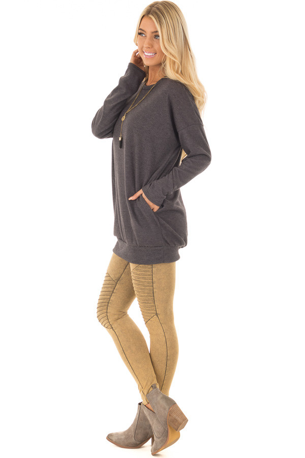 Charcoal Long Sleeve Knit Tunic Top side full body