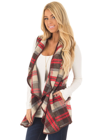 Red and Beige Plaid Vest with Faux Suede Trim front close up