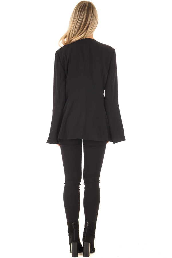 Black Bell Sleeve Blazer back full body