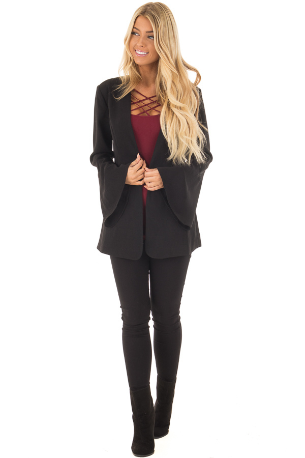Black Bell Sleeve Blazer front full body