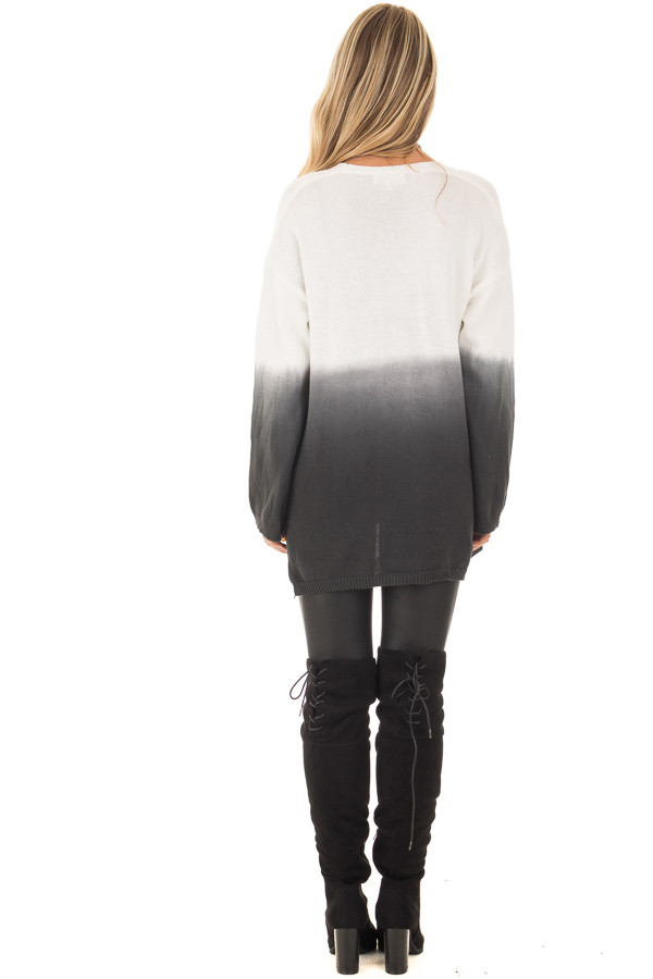 Charcoal Ombre Cardigan with Front Pockets back full body