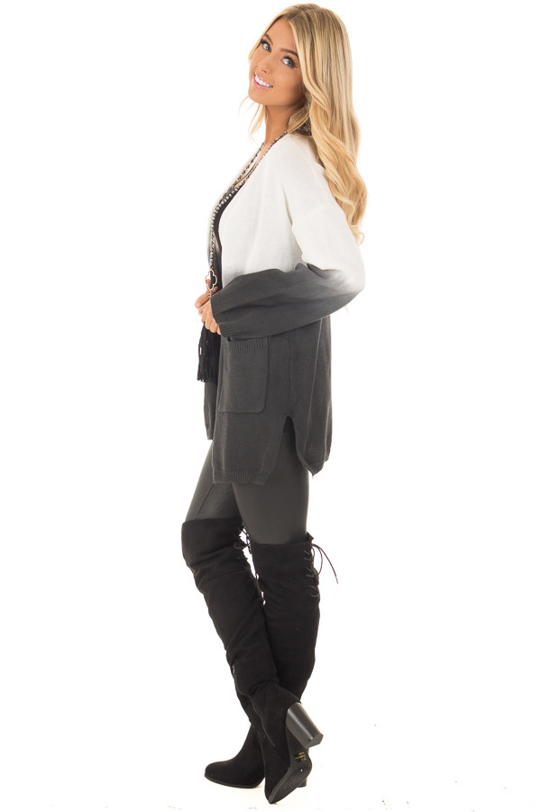 Charcoal Ombre Cardigan with Front Pockets side full body