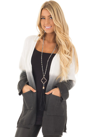 Charcoal Ombre Cardigan with Front Pockets front close up