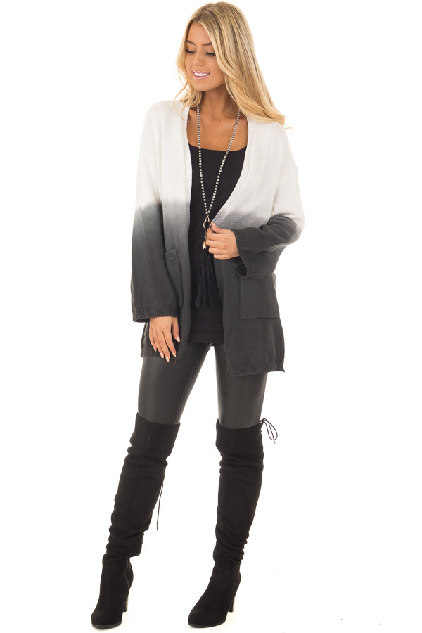 Charcoal Ombre Cardigan with Front Pockets front full body