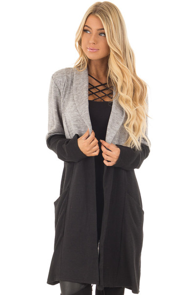 Grey and Black Color Block Long Sleeve Cardigan front close up
