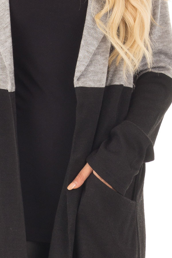 Grey and Black Color Block Long Sleeve Cardigan detail