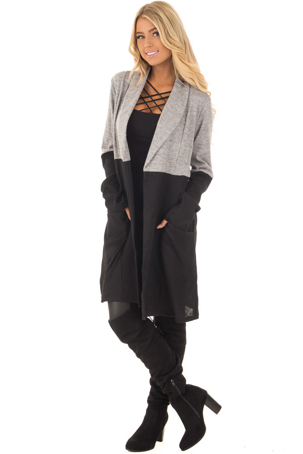 Grey and Black Color Block Long Sleeve Cardigan front full body