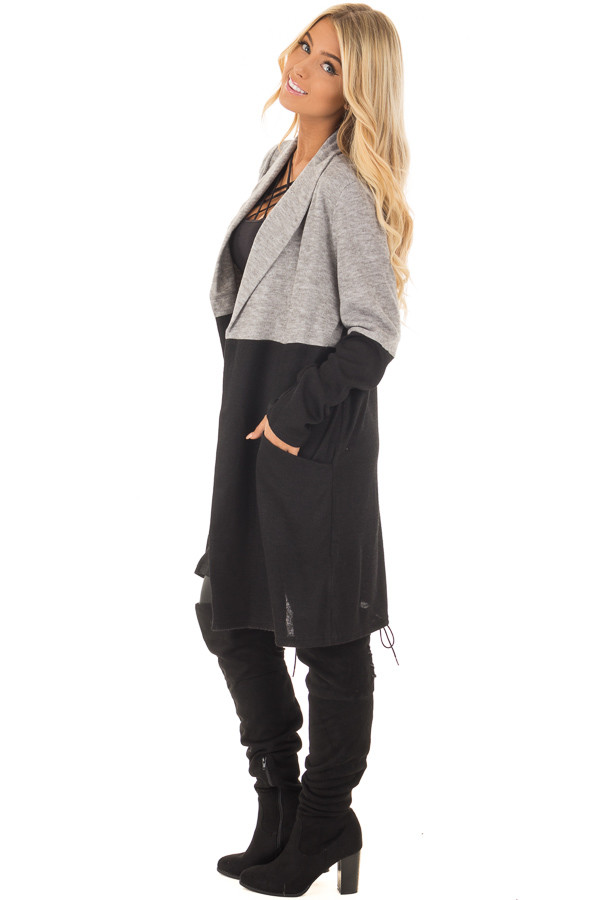 Grey and Black Color Block Long Sleeve Cardigan side full body