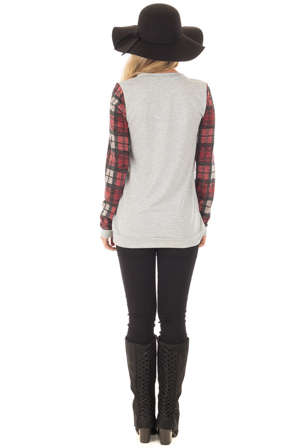Heather Grey and Burgundy Plaid Long Sleeve Deer Top back full body