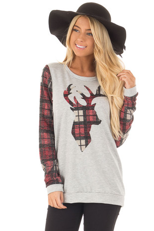 Heather Grey and Burgundy Plaid Long Sleeve Deer Top front close up