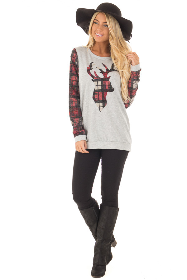 Heather Grey and Burgundy Plaid Long Sleeve Deer Top front full body