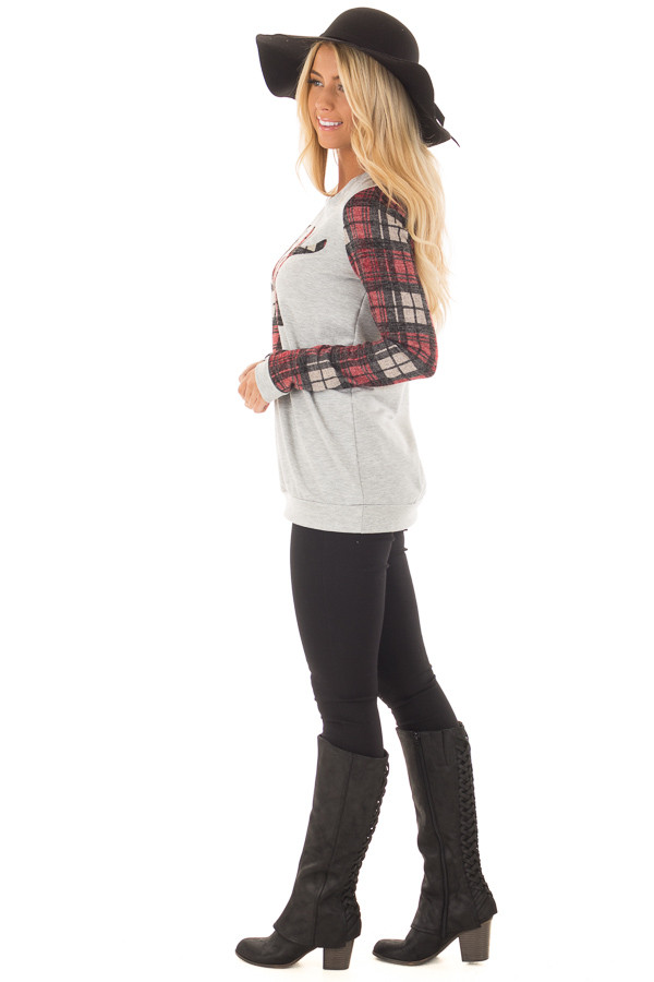 Heather Grey and Burgundy Plaid Long Sleeve Deer Top side full body
