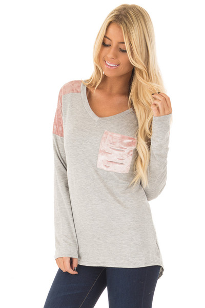 Heather Grey and Mauve Velvet Long Sleeve Top front close up