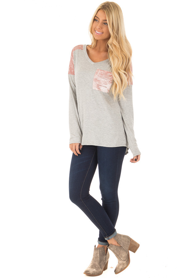 Heather Grey and Mauve Velvet Long Sleeve Top front full body