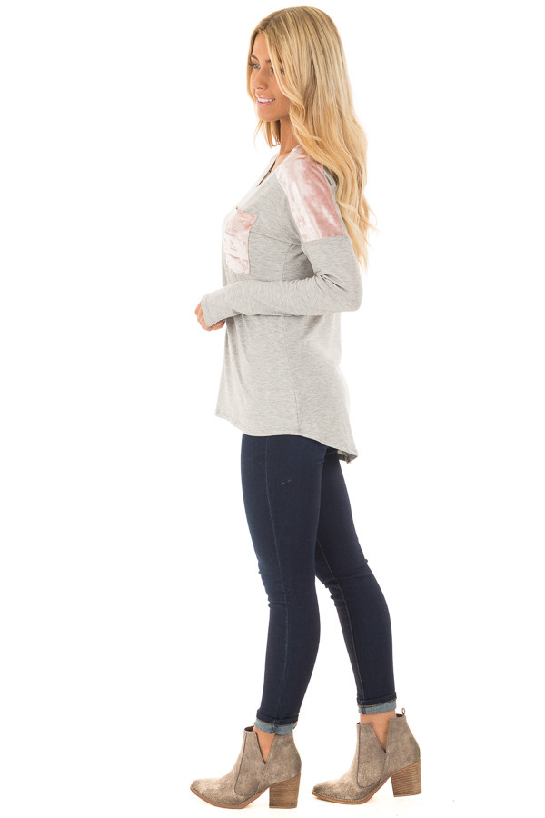 Heather Grey and Mauve Velvet Long Sleeve Top side full body