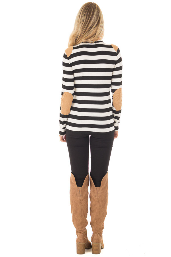 Black and White Striped Top with Faux Suede Details back full body