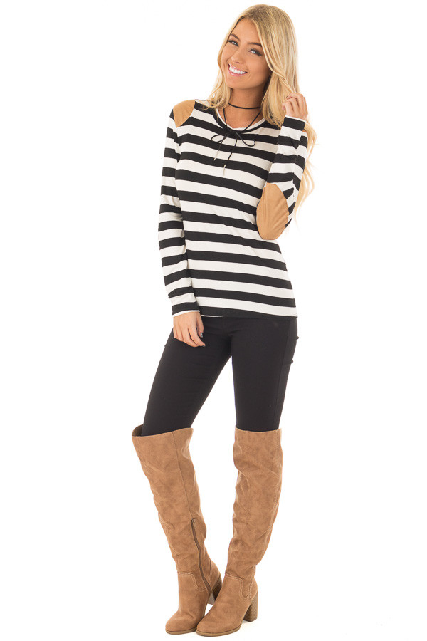 Black and White Striped Top with Faux Suede Details front full body