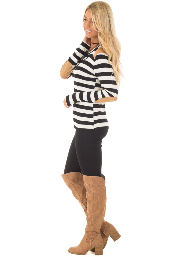 Black and White Striped Top with Faux Suede Details side full body