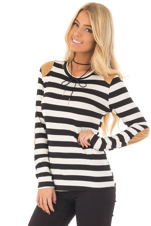 Black and White Striped Top with Faux Suede Details front close up