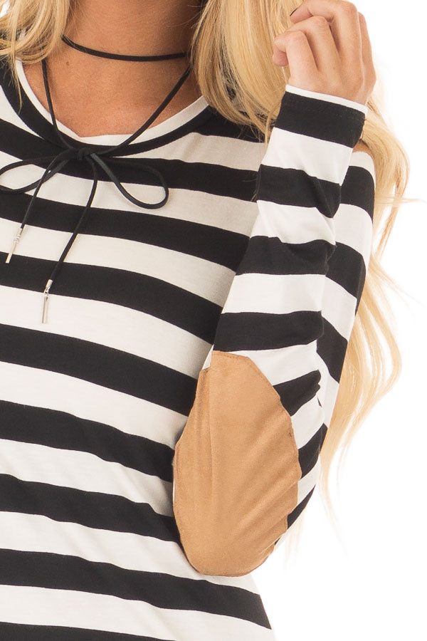 Black and White Striped Top with Faux Suede Details detail
