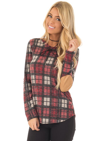 Red Plaid Long Sleeve Top with Faux Suede Elbow Patches front close up