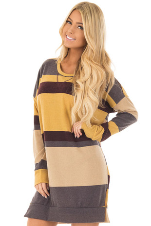Mustard Multi Color Striped Long Sleeve Tunic front closeup