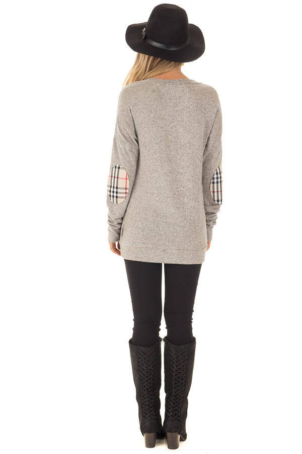 Heather Grey Long Sleeve Top with Sand Plaid Elbow Patches back full body