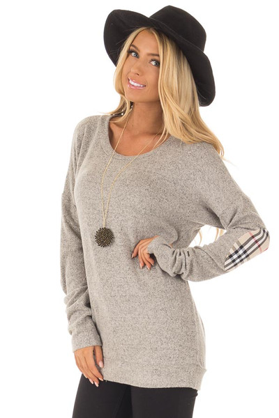 Heather Grey Long Sleeve Top with Sand Plaid Elbow Patches front close up