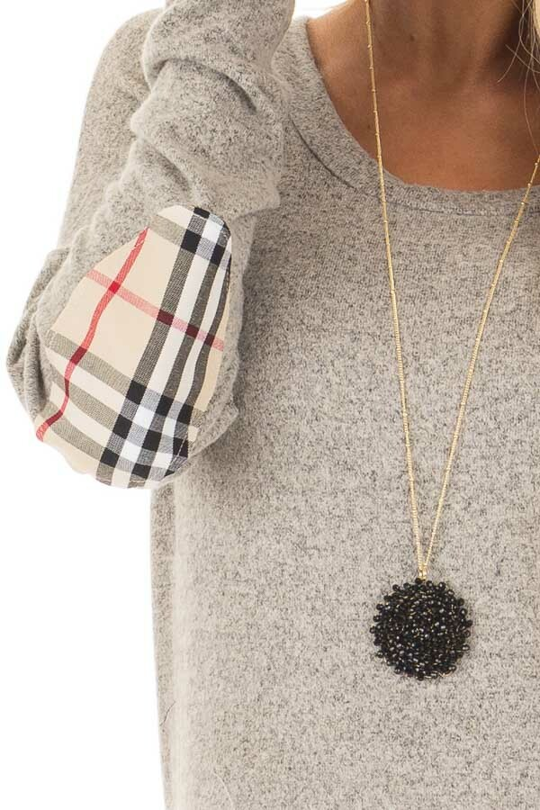 Heather Grey Long Sleeve Top with Sand Plaid Elbow Patches detail