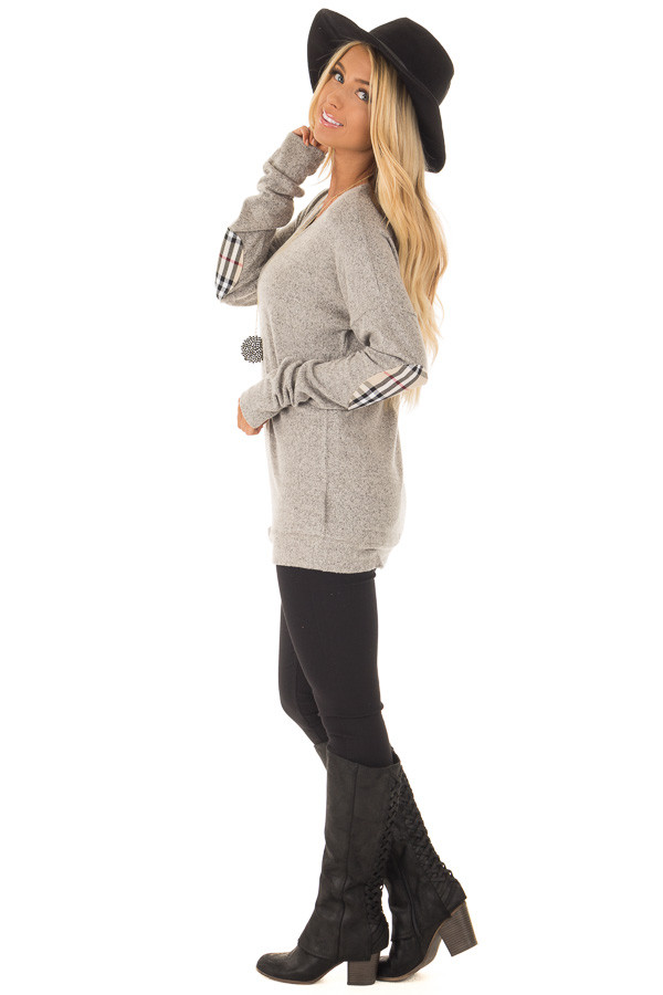 Heather Grey Long Sleeve Top with Sand Plaid Elbow Patches side full body