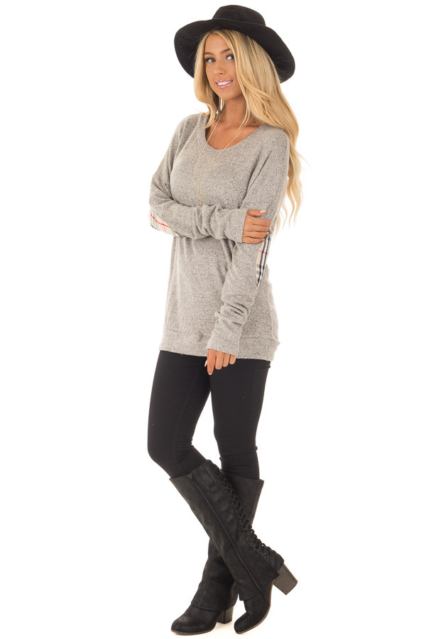 Heather Grey Long Sleeve Top with Sand Plaid Elbow Patches front full body
