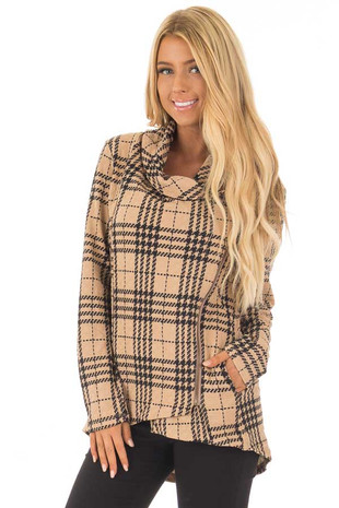 Mocha Plaid Side Zip Up Jacket front close up