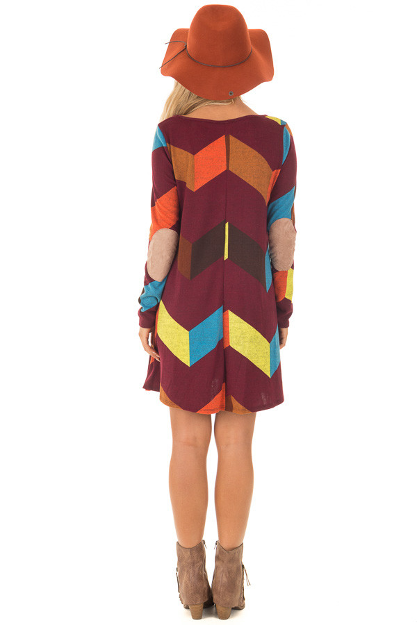 Burgundy Chevron Dress with Side Pockets and Suede Elbows back full body