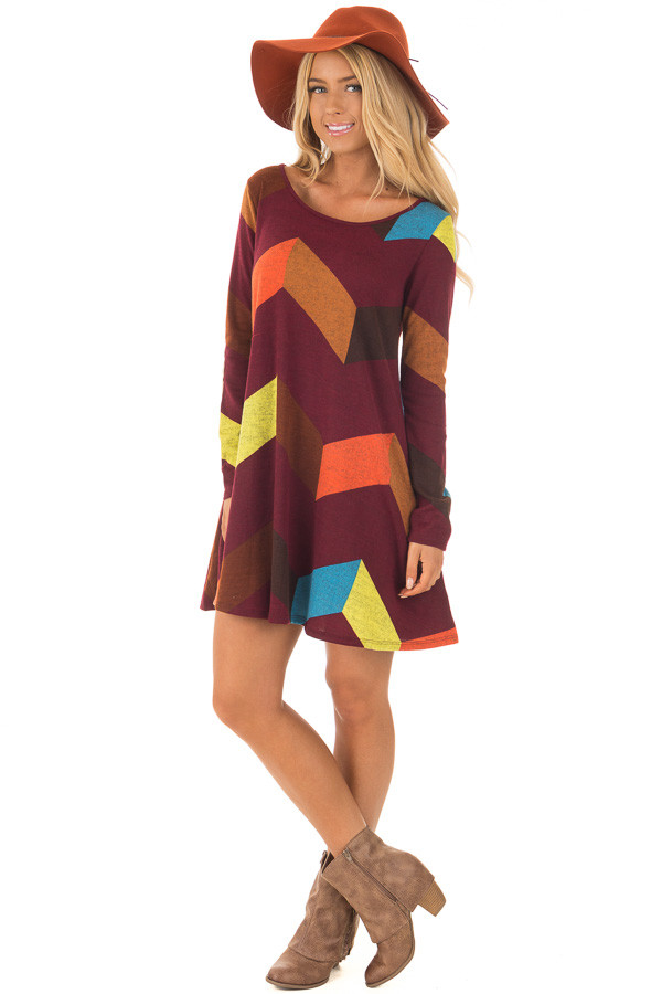 Burgundy Chevron Dress with Side Pockets and Suede Elbows front full body