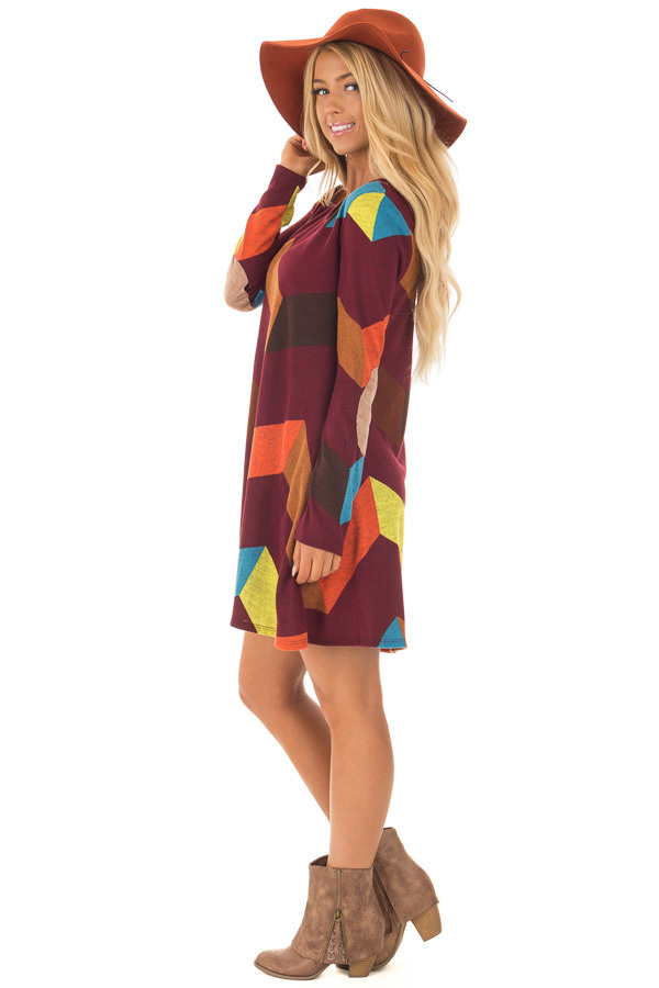 Burgundy Chevron Dress with Side Pockets and Suede Elbows side full body