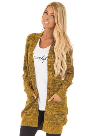 Mustard Two Tone Long Sleeve Cardigan front close up
