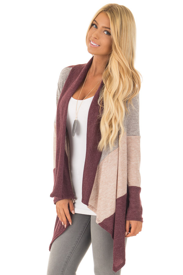 Burgundy Color Block Long Sleeve Cardigan front close up