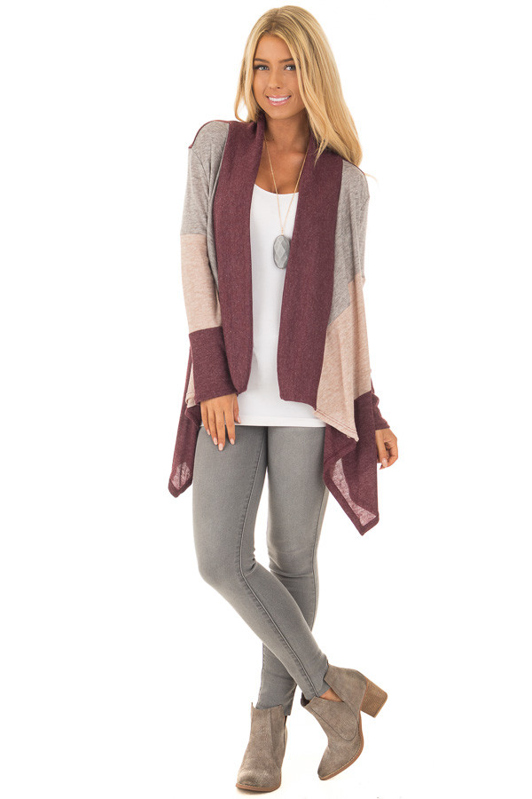 Burgundy Color Block Long Sleeve Cardigan front full body
