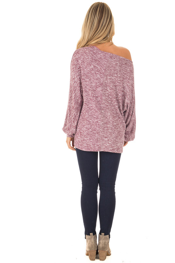 Burgundy Two Toned Off the Shoulder Long Sleeve Top back full body