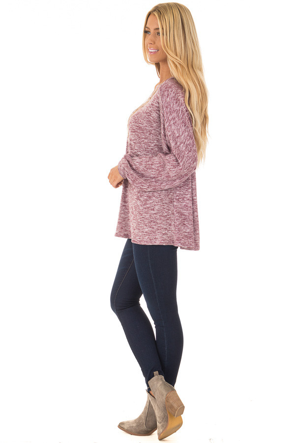 Burgundy Two Toned Off the Shoulder Long Sleeve Top side full body