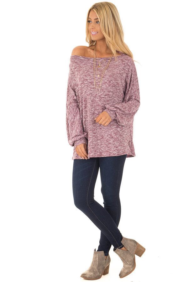 Burgundy Two Toned Off the Shoulder Long Sleeve Top front full body
