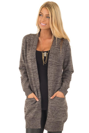 Taupe Two Tone Long Sleeve Cardigan front close up