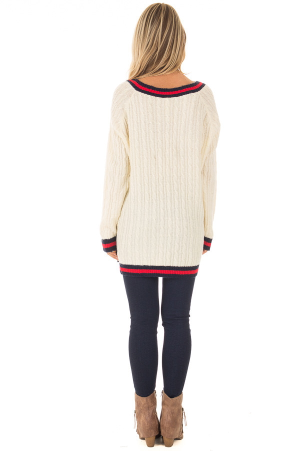 Cream Sweater with Red and Navy Stripe Details back full body