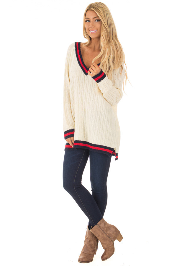 Cream Sweater with Red and Navy Stripe Details front full body