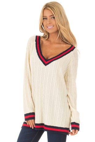 Cream Sweater with Red and Navy Stripe Details front close up