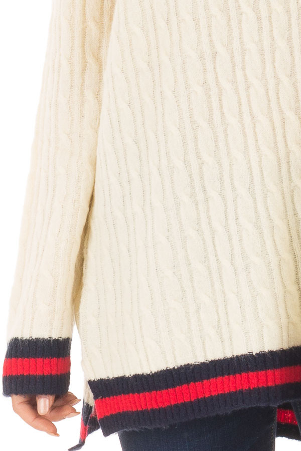 Cream Sweater with Red and Navy Stripe Details detail