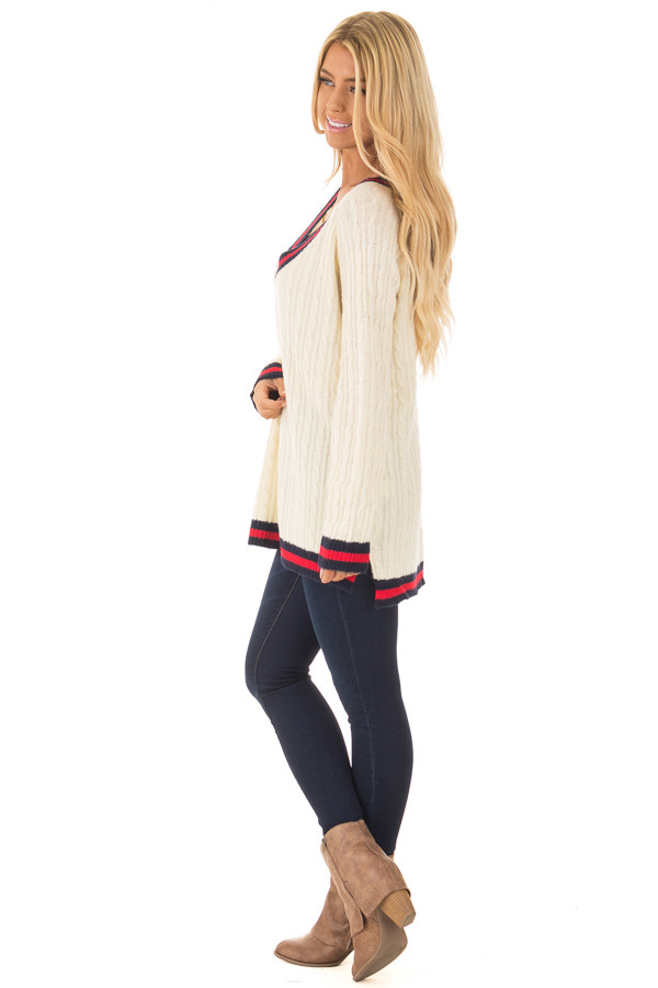 Cream Sweater with Red and Navy Stripe Details side full body