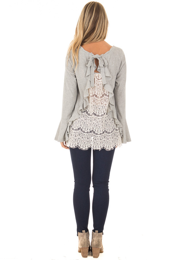 Heather Grey Long Sleeve Top with Open Lace Back back full body