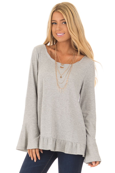 Heather Grey Long Sleeve Top with Open Lace Back front close up